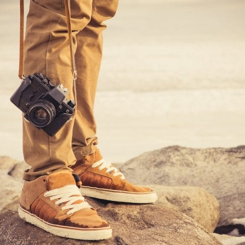 Feet Man And Vintage Retro Photo Camera Outdoor Travel Lifestyle