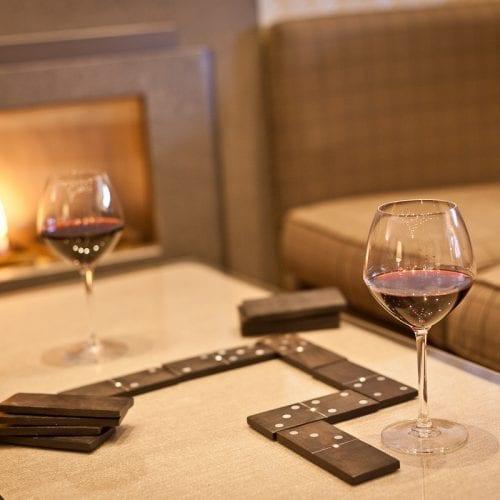 Wine by Fireplace